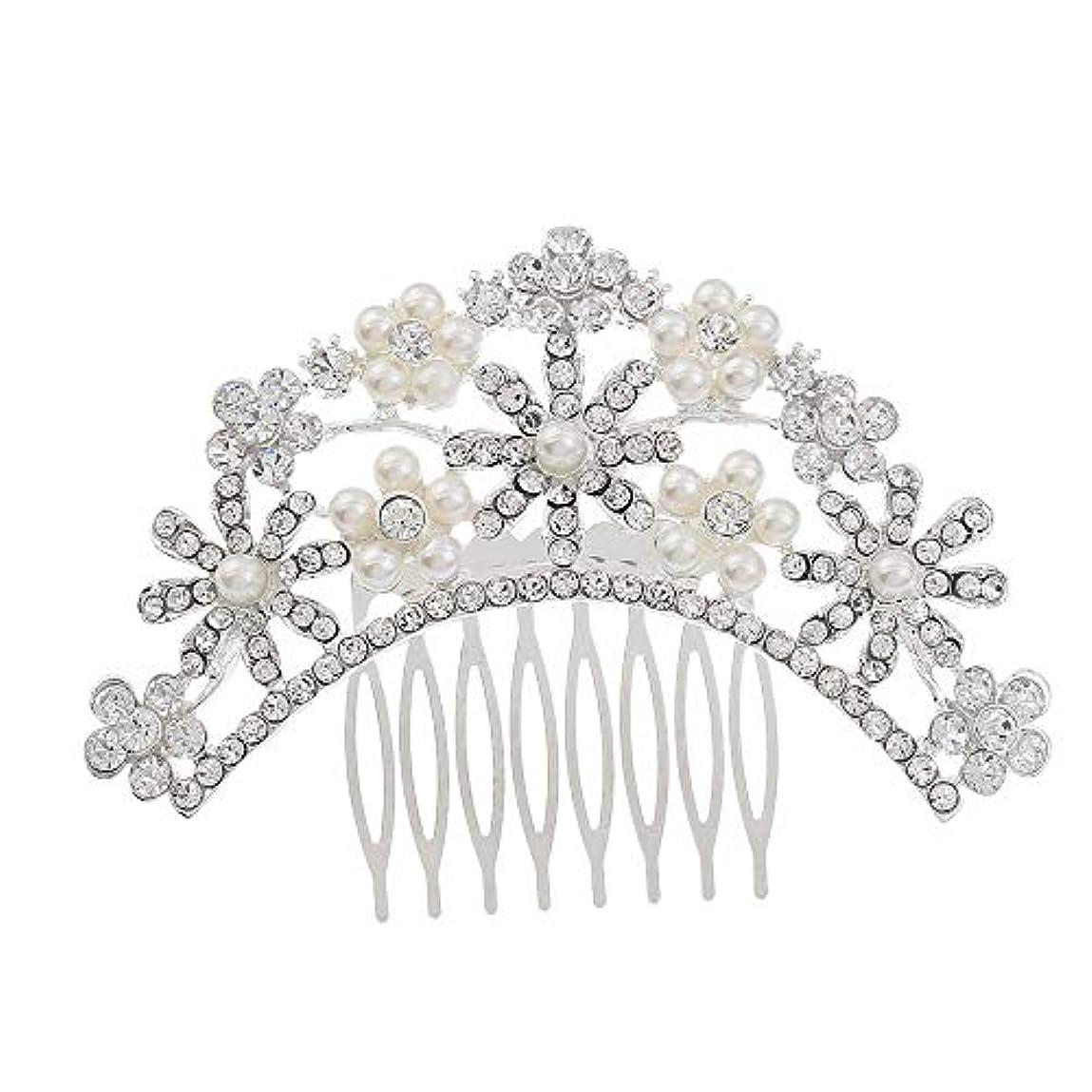 常習的構造底ヘアコームコーム櫛花嫁の髪櫛クラウンヘッドバンド結婚式の帽子真珠の髪の櫛ラインストーンインサート櫛