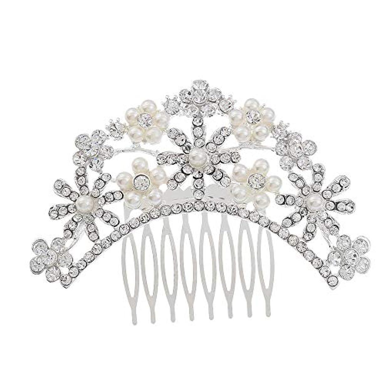 入浴クリック腹ヘアコームコーム櫛花嫁の髪櫛クラウンヘッドバンド結婚式の帽子真珠の髪の櫛ラインストーンインサート櫛