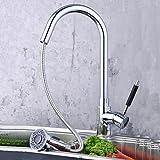 Rozin キッチン水栓 360度回転 冷 温 切換え シャワーヘッド 伸縮ノズルタイプ 混合水栓 蛇口セット