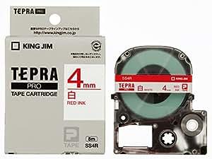 キングジム テープカートリッジ テプラPRO 4mm SS4R 白 赤文字