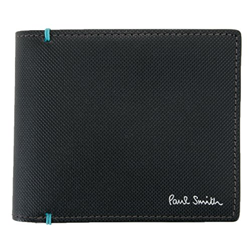 ポールスミス Paul Smith 正規品 コントラストカラー 二つ折り 財布 【ショップバッグ付き】 メンズ ブランド ウォレット (ブラック)