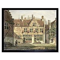 Jelgerhuis Street In Amersfoort Painting Art Print Framed Poster Wall Decor 12x16 inch 通りペインティングポスター壁デコ