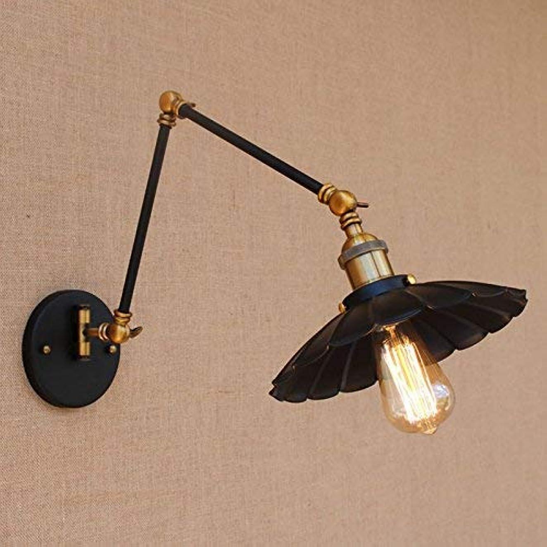 分析する即席ムスタチオ壁面ライト, ワークルームのベッドサイドの寝室のバーのための有効な長い振動腕が付いている黒い鉄の壁ランプ/ E26ライトSconce、黒 AI LI WEI (Color : Black)