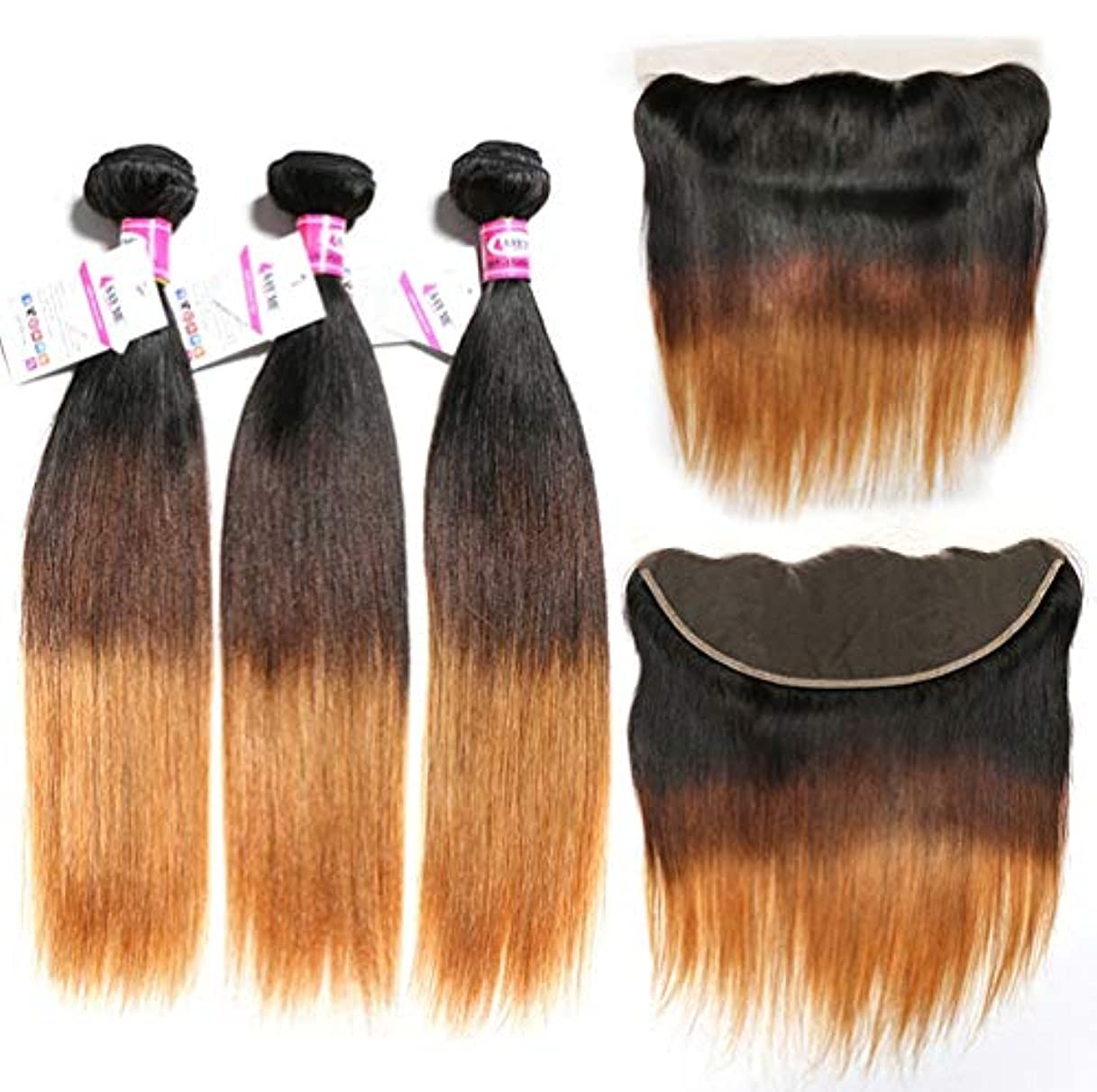 アソシエイト実行するレンチブラジルの100%の人間の毛髪の束の閉鎖のまっすぐな実質のRemyの自然な毛は延長延長よこ糸3の束+ 1を閉めました