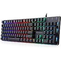 メカニカル式キーボード 有線 RGB ゲーミングキーボード 104キー ブラウンスイッチ LEDバックライトモード オフィス/ゲーミング用-GOFREETECH