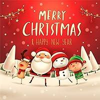 Yeele 8x8フィート メリークリスマス 背景 写真撮影用 サンタクロース エルク スノーマン 背景 ハッピーイヤー フェスティバル パーティー 装飾 大人 子供 写真ブース 撮影スタジオ小道具
