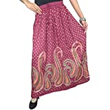 Bohemian Women Maxi Skirt Printed Pink Flared Flowy Gypsy Hippie Resort Wear Summer Long Skirts S/M/L