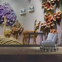 Ljjlm カスタム壁画壁紙3Dステレオレリーフツリー鹿動物写真壁壁画リビングルーム研究室家の装飾-260X180CM
