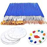 65 Pcs Flat Paint Brush Set, 60pcs Children's Art Paint Brushes with Nylon Hair + 5 pcs Round Paint Tray Palettes Small Brush