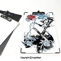 印刷者 クリップボード 用箋挟 クロス貼 A4 短辺とじ 女王 ファイルボード (2個)クラウンとバラゴシックアートファンシーファッションフェミニン空の青赤黒とグランジの女性