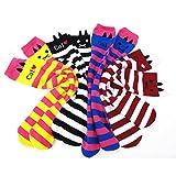 BINGONE キッズ靴下 ニーハイソックス 子供用 綿製品 5足セット (長さ約32cm)ねこ