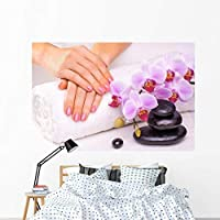 Wallmonkeys Manicure with Pink Orchid Wall Mural Peel and Stick Graphic (72 in W x 48 in H) WM88888 [並行輸入品]