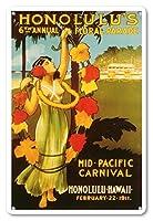 22cm x 30cmヴィンテージハワイアンティンサイン - 1911ミッドパシフィック・カーニバル - ホノルルハワイ - 第6回フローラル・パレード - ビンテージなカーニバルのポスター c.1911