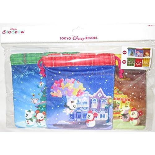 巾着セット ディズニー クリスマス 2017 スノースノー 雪だるま きんちゃく 3枚セット 東京ディズニーリゾート限定 TDR