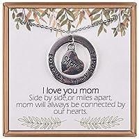 IEFRICH ハートママネックレス - 18インチ シルバーカラー ママ ハート 永遠の愛 引用句 ネックレス 女性 女の子 最高のメッセージカード ママ ネックレス 彼女へのギフト
