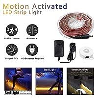 brtlx Motion Activatedベッドライト防水柔軟なLEDストリップキット4.92Ft自動シャットオフタイマー夜のライトダークコーナーベッド下キャビネットアクセント照明