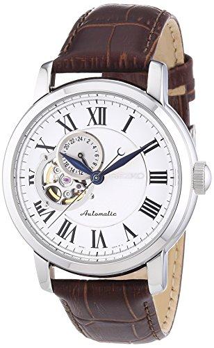 セイコー Seiko SSA231K1 Automatic White Dial Brown Leather Band Watch