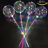 光る風船 手持ち ポールセット 繰り返し使用可能風船ライト 雰囲気飾る光るバルーン ショー クリスマス 結婚式 パーティー バレンタインデー 適用(4個入り)