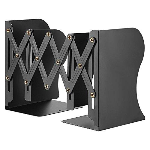 本立て ブックスタンド 伸縮自在 金属製 卓上収納 仕切りスタンド 雑誌/新聞/書類入れ 多機能 おしゃれ ブラック