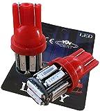 (ライミー)LIMEY 最新! 5W級 爆光 T10 LED バルブ レッド 赤 テールランプ ポジション メーター ウエッジ SMD7020 10連×2SMD 20チップ搭載 ナンバー ルームランプ 取説&保証書付 2個入 【ベース:赤】 L-T10R7020C2