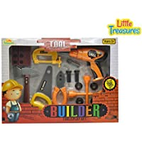 Little Treasures BUILDER 16pcs pretend play Deluxe Tools Set with working hand and power tools including power drill/screw-driver, hand saw, pliers, wheel brace/wrench, clamp and nuts and bolts [並行輸入品]