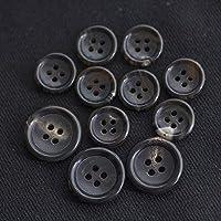 【丸型(シンプルデザイン)】本水牛ボタン#bt149h 4穴15mm8個&20mm3個 C/#7 ブラウン スーツ用ボタン水牛ボタンセット ***10%OFF***