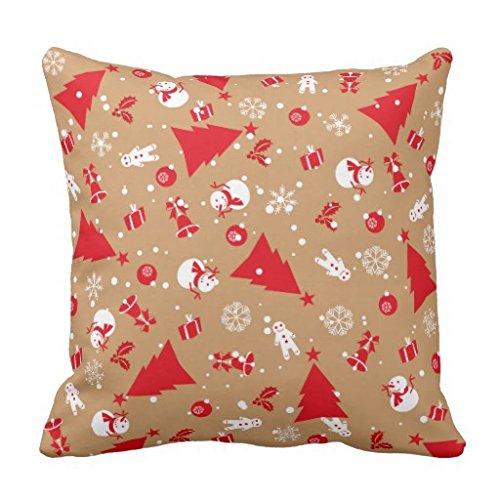 【Koana Shop】クリスマスオーナメントパターン クッションカバー 45x45cm ピローケース イラストプリント ソファー ベッド 車に