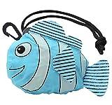 エコバッグ 折たたみ コンパクト (スーパー コンビニ サイズ)携帯 収納 袋 も かわいい さかな ライトブルー