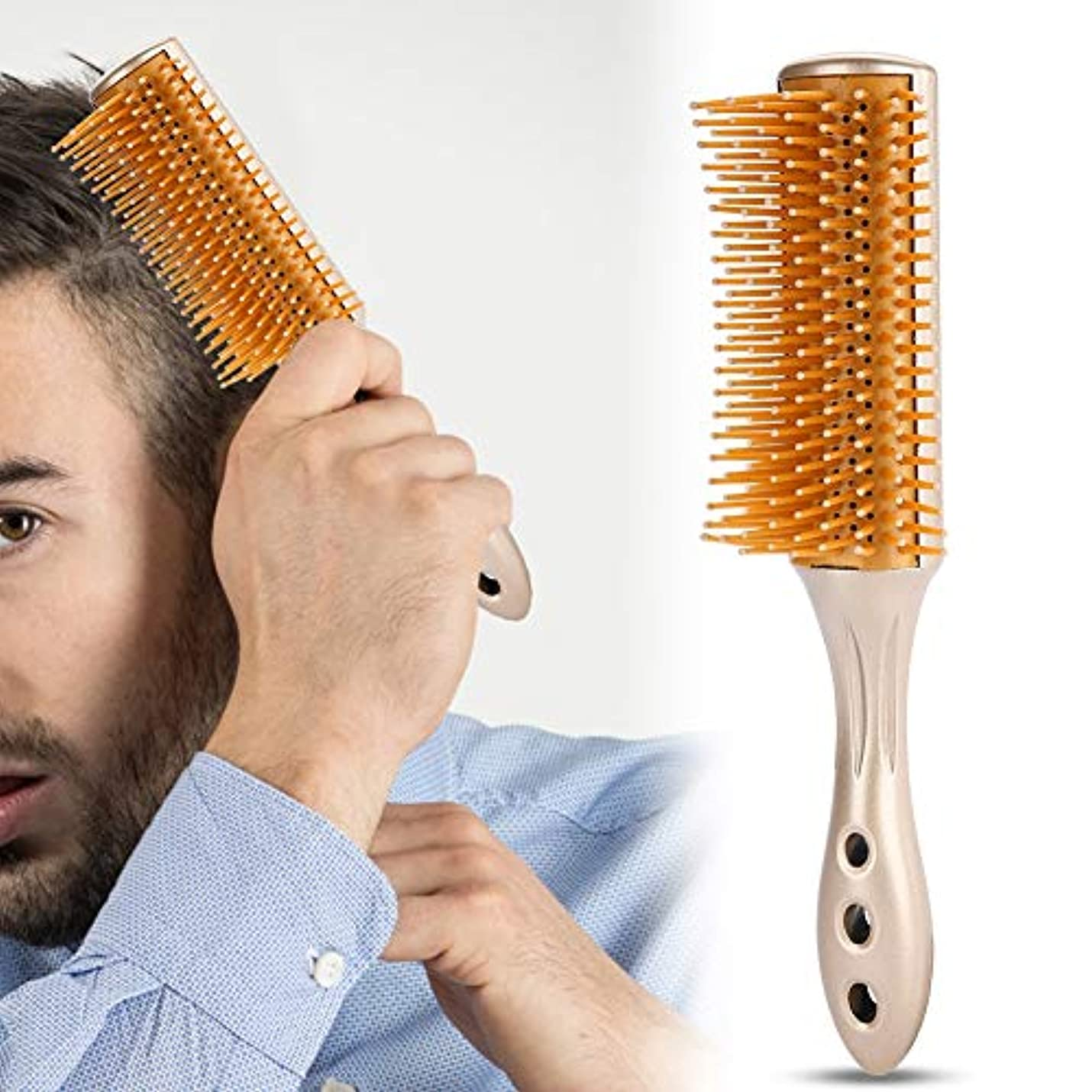 外部文明化登山家ロール美容櫛、9列の櫛 帯電防止ヘアマッサージ男性オイルヘッド櫛すべての髪のタイプのプロの美容スタイリングツール