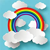 AOFOTO 5x5ft Cartoon 3D Rainbow Clouds on Blue Paper Backdrop for Photography Girl Boy Baby Shower Photo Booth Kids Children