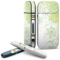 IQOS 2.4 plus 専用スキンシール COMPLETE アイコス 全面セット サイド ボタン デコ フラワー 花 フラワー 緑 001823
