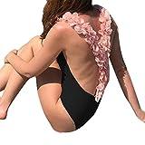 レディース ワンピース Mhomzawa レディース ビキニ セクシー水着 クロス ストラップ ワンピース水着 女性 包帯ジャンプスーツ プッシュアップ パドブブラ ビーチ ワンピース (ブラック, L)