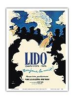 リドキャバレー - シャンゼリゼパリ、フランス - 夜こんにちは! - ビンテージな劇場のポスター によって作成された ルネ・グリュオ c.1971 - アートポスター - 23cm x 31cm