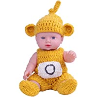 KIDDING 30cmハンドメイドセーター シミュレーション赤ちゃん 入浴人形 ソフトベビー 幼児教育 劇場 子供たち プリンセス 若い女の子 おもちゃ人形 (黄色のセーター頭髪の人形)