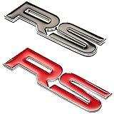 CarOver 【愛車をRS風に!!】 汎用 RS ステッカー 3D 立体 エンブレム スポーツ クール カスタム (ブラック) CO-RS-BK