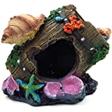 REALAQUA Resin Antique Bucket/Broken Barrel Aquarium Ornaments Decor with Shells and Starfish, Fish Tank Supplies Accessories for Home/Office, Multipurpose for Aquatic Creature Caves Hiding Shelter