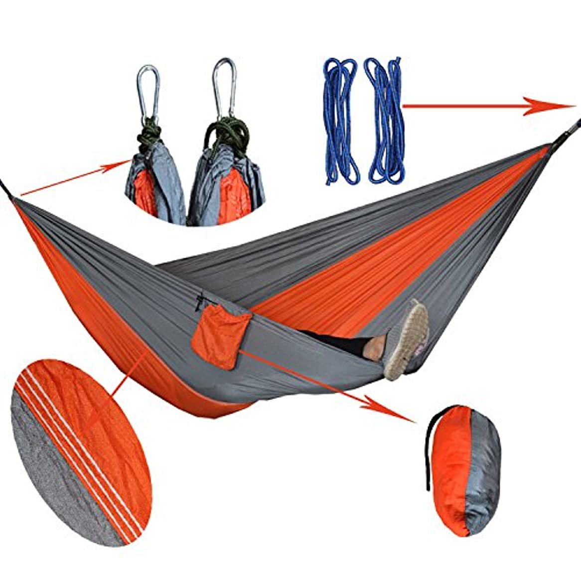 起きて豊富ジャンプCDKET ハンモック、軽くて持ち運びが簡単ハンモックキャンプハンモックアウトドアハンモックファミリーレジャーハンモック