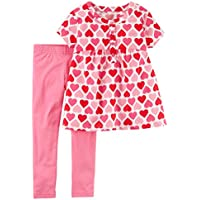 Carter's Baby and Toddler Girl's Valentine's Day Pink and Red Heart Shirt and Leggings Set