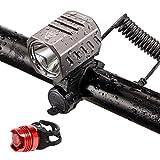 J & L 自転車ライト IPX6防水 USB充電式 LEDヘッドライト機能搭載 テールライト付 300m照射距離 4モード(強/中/弱/ ストロボ) CREE XM-L2 超高輝度 最高1200ルーメン 防災