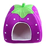 ペットハウス 小型犬・猫対応 冬 暖かい 室内用 いちご型(s)紫