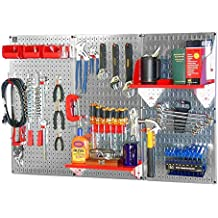 Wall Control 30WRK400GVR 4-Feet Metal Pegboard Standard Tool Storage Kit with Galvanized Toolboard and Red Accessories (Renewed)