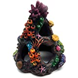 REALAQUA Aquarium Coral Rock Decoration Environments Cave Living Reef Tank Resin Ornaments Fish Hide-Away Mountain Retro Rockery Crafts Colorful Landscaping for Family Office Aquarium and Underwater Simulated Rockery