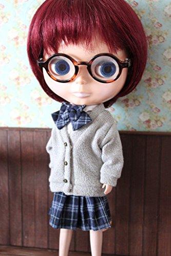(ドーリア)Dollia ブライス 1/6ドール用 アウトフィット 学生 セーター ニット 長袖 カーディガン ネオブライス ドール 人形 (グレー)