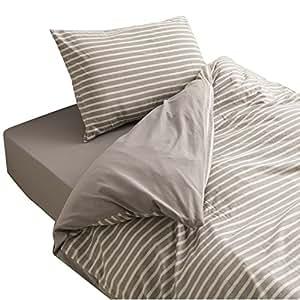 mofua 布団カバー やわらかタッチ ( 綿100% 天竺ニット ) ベッド用 シングル グレージュ 554001N8
