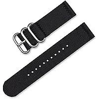 20mm Military RAF Style Ballistic Nylon 2-Piece Watch Band - Black