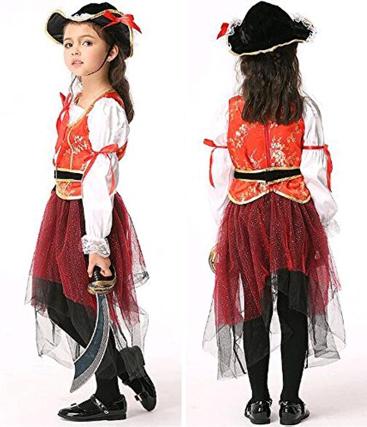 プライム縮れたそのようなハロウィン仮装服/コスプレ/コスチューム/舞台衣装/海賊子供用 (Sサイズ, レッド)