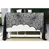 ハロウィン 飾りテーブルクロスブラックレース 蜘蛛の巣 舞台の飾り 手芸 アクセサリー カーテン 室内 暖炉 (46x244cm)