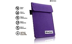 Silent Pocket Signal Blocking Faraday Key Fob Case - Car Anti Theft Device Shielding Against All Signal Types, Including RFID Blocking & Durable Faraday Bag, Fits Most Car Keyfobs (Deep Purple)