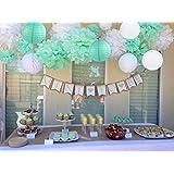 sogorge 19個パーティー装飾紙ポンポンキットホワイトミントグリーン花?ペーパー提灯誕生日ウェディング洗礼式Frozenテーマパーティーデコレーション大人ボーイズGirls
