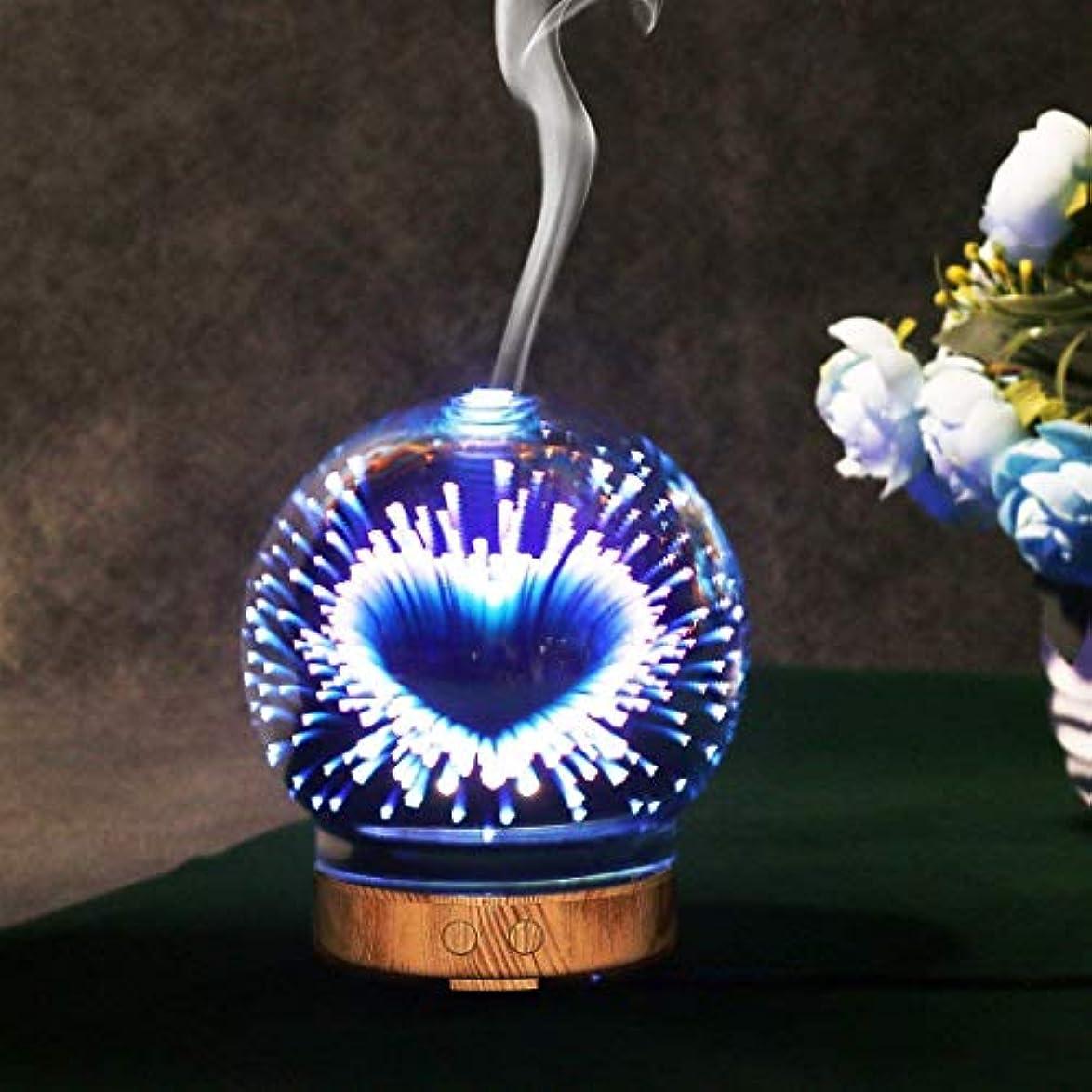 特許触手その他3Dガラス木目エッセンシャルオイルアロマディフューザー電子クールミスト加湿器可変色LEDナイトライトホームデコレーション